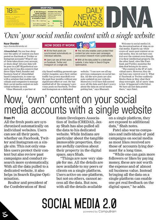 #InTheNews DNA Ahmedabad #sm2p0 #contentstrategy #SocialMediaStrategy #DigitalStrategy #SocialMediaTools #SocialMediaTips #FutureOfSocialMedia