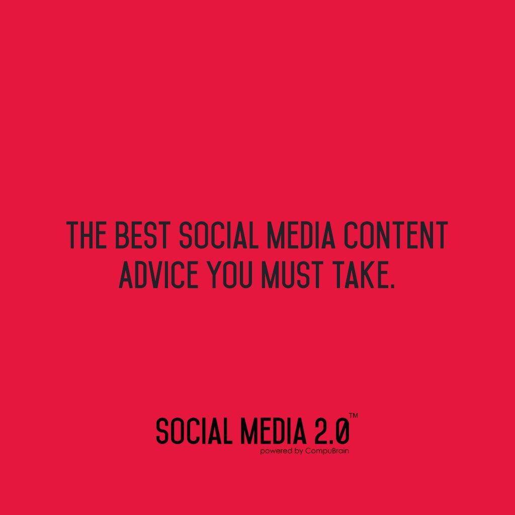 The BEST Social Media Content Advice You Must Take.  👉Social Media 2.0 👈  #socialmedia2p0 #SocialMediaManagement #ContentStrategy #SocialMedia #SEO https://t.co/Su5fV27SHB