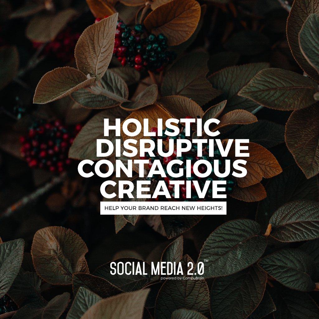 Holistic, Disruptive, Contagious, Creative  #SearchEngineOptimization #SocialMedia2p0 #sm2p0 #contentstrategy #SocialMediaStrategy #DigitalStrategy #DigitalCampaigns https://t.co/q5anVvvasS